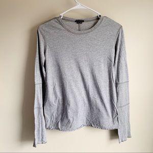 Theory Gray Long Sleeve Cotton Tee T-shirt